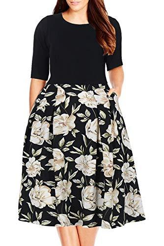 Nemidor Women's Floral Print Vintage Style Plus Size Swing Casual Party Dress (24W, Black+White)