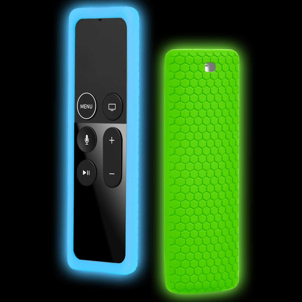 TV Remote Case Glow, 2 Pack Remote Case Cover for Apple TV 4K Remote Silicone Protective Cover Apple Siri Remote Case Anti-Slip Shockproof for New Apple TV 4K 4th 5th Siri Remote Controller