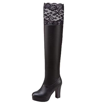 MissSaSa Damen Komfortabel Elastisch Spitze über Knie Stiefel  Amazon.de   Schuhe   Handtaschen 41e40fb69a