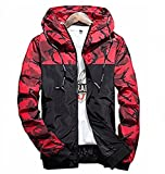 Showlovein Floral Bomber Jacket Men Hip Hop Slim Fit Flowers Bomber Jacket Coat Men's Hooded Jackets, Large, Red