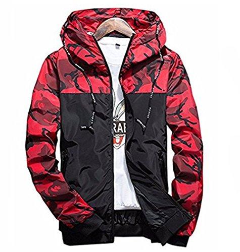 Showlovein Floral Bomber Jacket Men Hip Hop Slim Fit Flowers Bomber Jacket Coat Men's Hooded Jackets, Large, Red by Showlovein