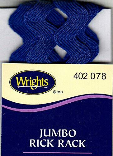 5//8 WIDE WRIGHTS YALE BLUE JUMBO RICK RACK-2 1//2 YARDS 078 TRIM