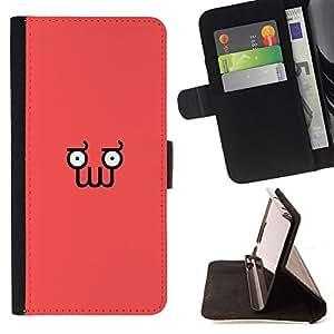 BullDog Case - FOR/Sony Xperia Z1 Compact D5503 / - / Funny Minimalist Squid Face Z0Idberg /- Monedero de cuero de la PU Llevar cubierta de la caja con el ID Credit Card Slots Flip funda de cuer