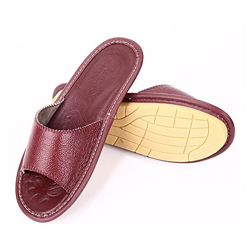 Summer for Slippers Rouge Corium Wooden TELLW Vin Women Leather Smelly Men Anti Floor Autumn W Spring Cowhide C5wxqURP