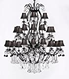 Large Wrought Iron Chandelier Chandeliers Lighting With Jet Black Crystal Balls! H60'' x W52'' - Great for the Entryway, Foyer, Family Room, Living Room! w/ Black Shades