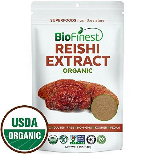 Biofinest Red Reishi Mushroom Abstract Powder - 100% Ling Zhi (Ganoderma Lucidum) Superfood - USDA Certified Organic Raw Vegan Non-GMO - Boost Stamina Immunity - For Smoothie Beverage Grade (4 oz)