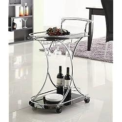 Coaster Contemporary Chrome Finish Serving Cart with 2 Black Glass Shelves