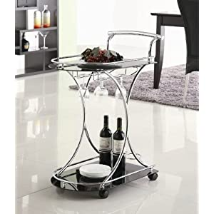 Coaster II-CO Serving Cart with 2 Glass Shelves, Chrome and Black