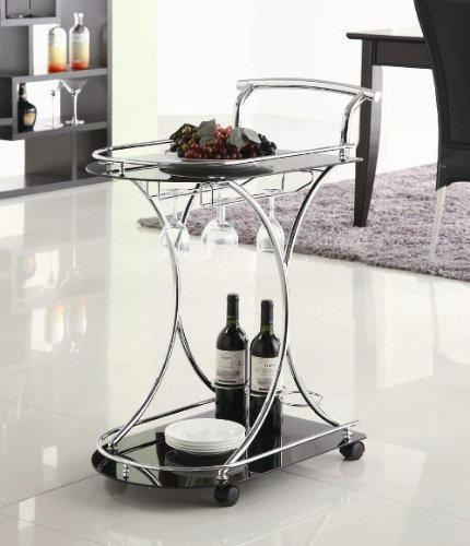 Glass Serving Cart - Coaster Contemporary Chrome Finish Serving Cart with 2 Black Glass Shelves