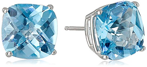 Stone Earrings Natural 14k (14k White Gold Cushion-Cut Checkerboard Swiss Blue Topaz Stud Earrings (8mm))