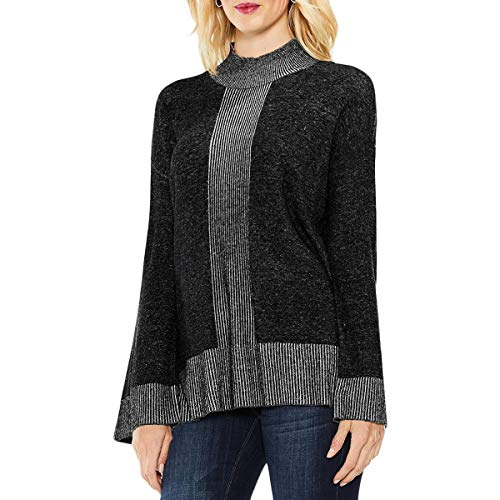 (Vince Camuto Womens Colorblock Ribbed Mock Turtleneck Sweater Gray S)