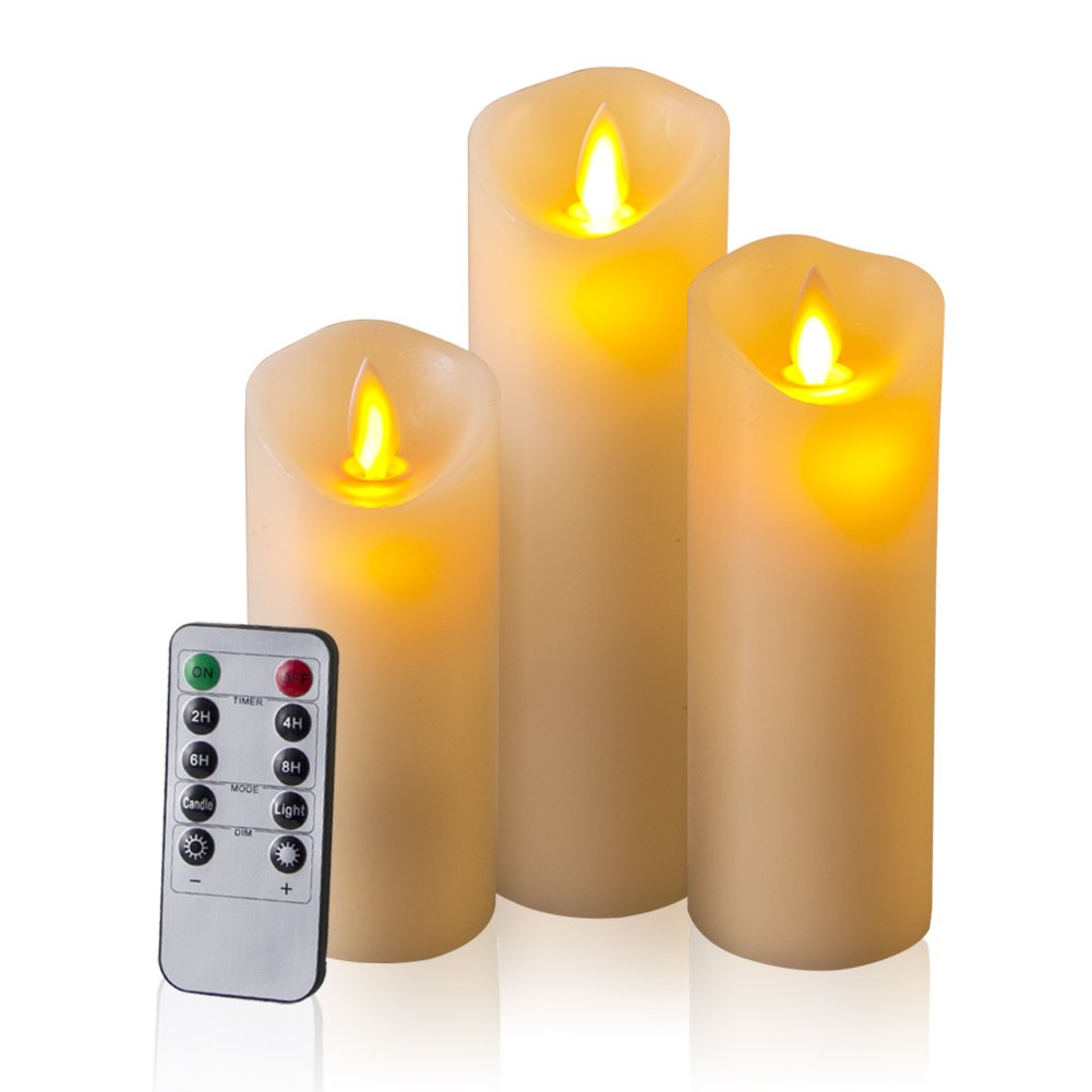 Flameless Candles, 5'' 6'' 7'' Set of 3 Ivory Dripless Real Wax Pillars Include Realistic Dancing LED Flames and 10-key Remote Control with 24-hour Timer Function