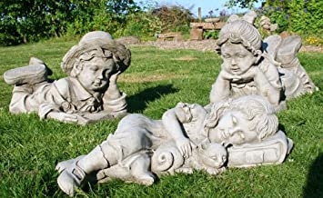 Set of 3 Children Garden Ornaments Amazoncouk Garden Outdoors