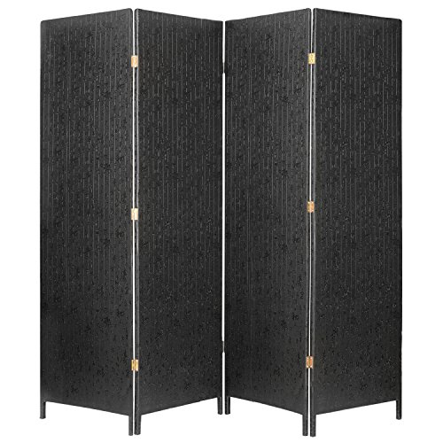mygift-decorative-4-panel-room-divider-freestanding-privacy-screen-wchinese-calligraphy-black