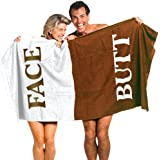 "The Original Butt & Face Cotton Towel 100 % Cotton Bath Towel Embroidered with "" Butt / Face """