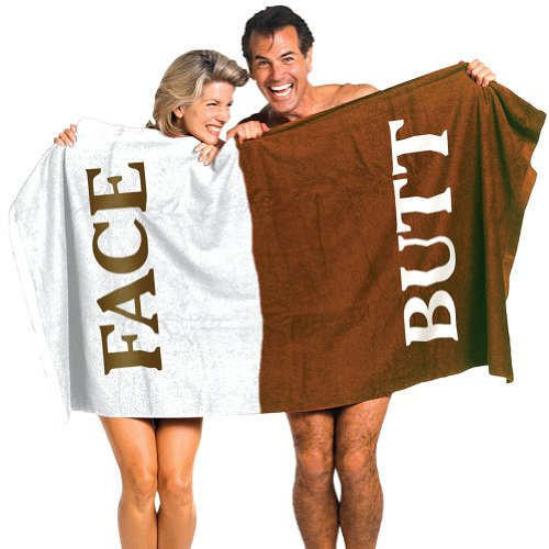 Butt and Face Embroidered Lettering Two Tone Color Coded Comedic Body Towel