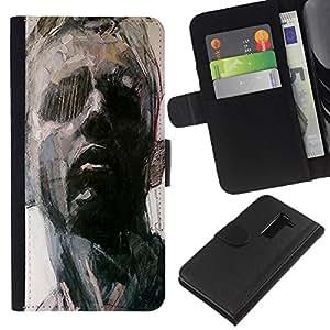 KLONGSHOP // Tirón de la caja Cartera de cuero con ranuras para tarjetas - Retrato del hombre Arte Pintura Piensa - LG G2 D800 //