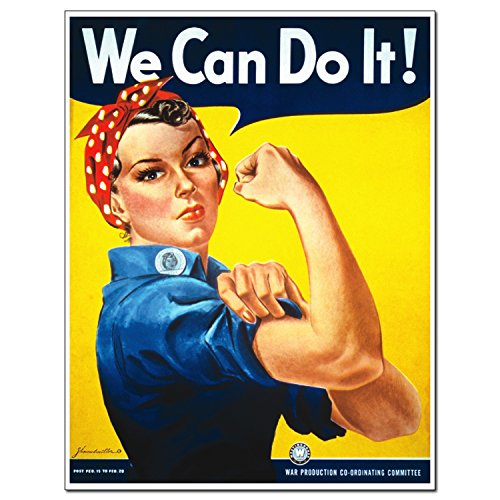 Young And Refined Rosie The Riveter LARGEposter unframed Art Sign Print Home Decor Woman Persisted Feminist icon Quote we can do it 18x24 (Unframed Icon)