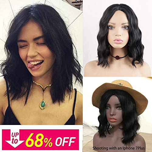 Short Bob Synthetic Hair Wigs for Black Women Phoenixfly 14Inch Shoulder Length Short Curly Wavy Bob Middle Part Wigs Natural Looking Cosplay Hair Replacement Wigs with Wig Caps (Natural Black)