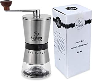 Lasting Coffee Manual Coffee Grinder | Premium Stainless Steel Conical Ceramic Burr Whole Bean Hand Mill with Adjustable Settings | Portable Hand Crank Grinder