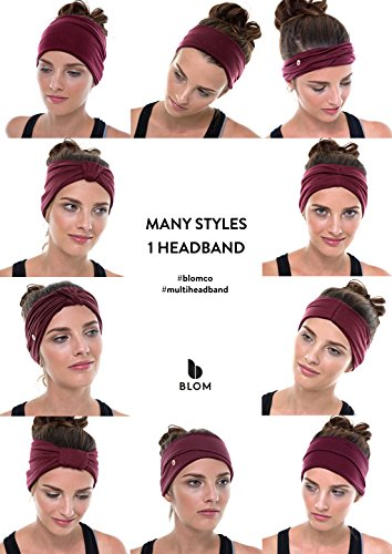 BLOM Multi Style Headband for Sports or Fashion, Yoga or Travel. Happy Head Guarantee - Super Comfortable. Designer Style & Quality (Dark Teal)