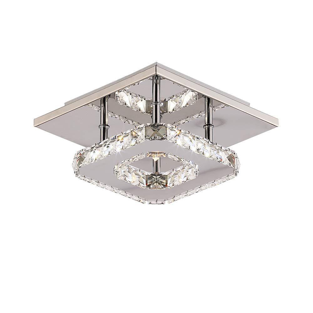 Modern led crystal ceiling lightfy light modern style k9 crystal flush mount square flush crystal chandeliers for aisle hallway square