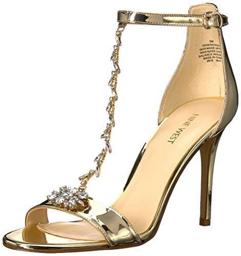 Nine West Women's Mimosina Synthetic Sandal, Light Gold, 10 M - Men Nine West