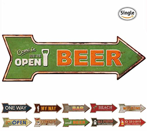 HANTAJANSS Bar Signs with Open Retro Beer Signs for Wall Decoration - Open Beer