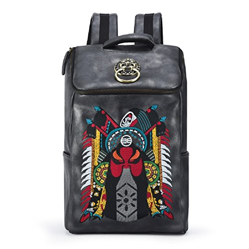 Chusan Chinese Embroidery PU Leather Backpacks Casual Outdoor Daypack Black (Black-Beijing opera) by Chusan