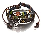 Most Beloved Star and Treble Clef Charm Bracelet Silver Brown Leather Cuff Wooden Bangle Fashion Jewelry