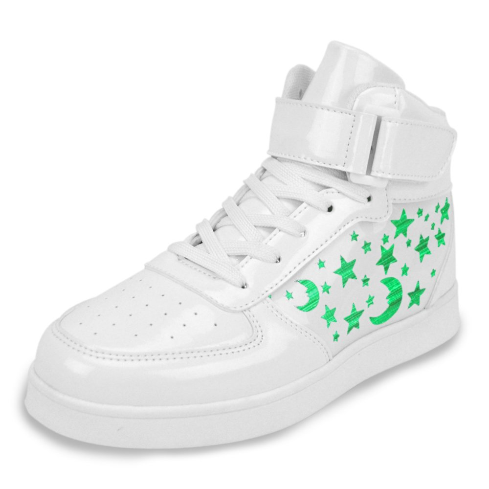 Earsoon Light Up Shoes Kids Sneakers Boys Girls LED Rechargeable Shoes (2018 New Design) Fiber Optic High Top Flashing USBCharging for Fashion Shoes Christmas Gifts (6 M US Big Kid, White)