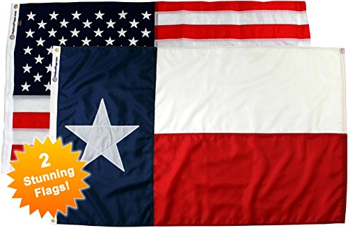 NEW! American Flag & State of Texas Flag Combo Pack - Two 3x5ft, Best-In-Class, Outdoor Nylon Flags - Buy Together And Save