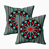 EMMTEEY Home Decor Throw Pillowcase for Sofa Cushion Cover,mid Century Modern Starburst Turquoise red Decorative Square Accent Zippered and Double Sided Printing Pillow Case Covers 20X20Inch,Set of 2