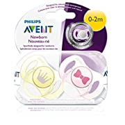 Philips AVENT Newborn pacifier 2 Piece, Pink/Yellow, 0-2 Months