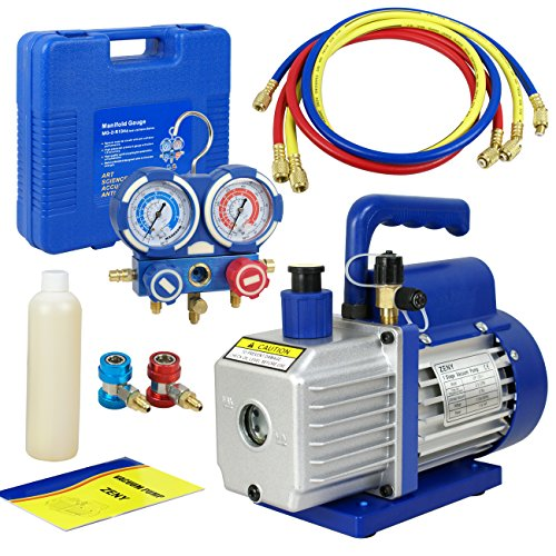 F2C 3.5CFM 1/4HP HVAC Air Rotary Vacuum Pump Kit With/ AC...