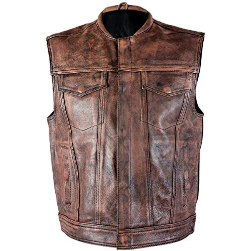 Xelement XS-39070 Men's 'Crypt' Distressed Brown Leather Premium Cowhide Vest - Large