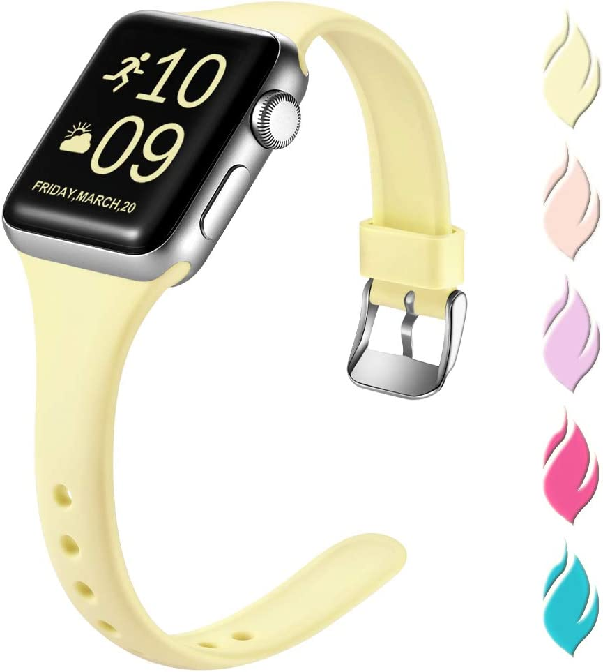 Henva Slim Band Compatible with Apple Watch SE 40mm 38mm, Soft Comfortable Band Compatible for iWatch Series 6 5 4 3 2 1, Light Yellow, S/M