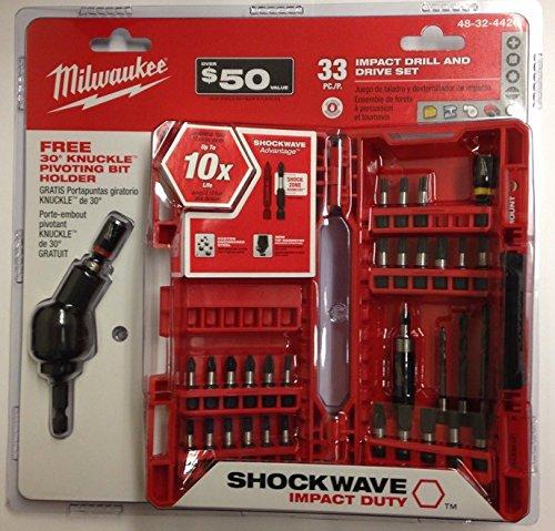 Milwaukee 48-32-4426 Shockwave Impact Drill and Drive Set, 33 Piece (Holder Tip Bit Pivoting)