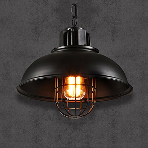 Pendant Light, Frideko Vintage Industrial Fisherman Metal Cage Lampshade Loft Ceiling Light for Living Room Restaurant Bar (Fisherman Ceiling Pendant)