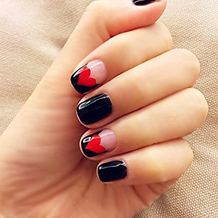 Generic As Pictured Black And Red Love Pattern Fake Nails Japanese