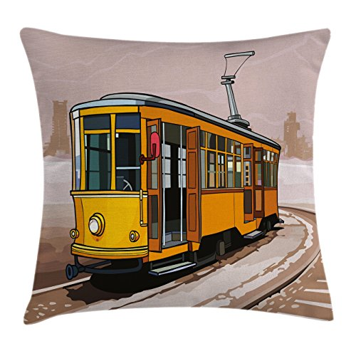 Train Chair Rail - Ambesonne Modern Throw Pillow Cushion Cover, Yellow Train on Rail Roads Winter Scenery Old Suburban Illustration, Decorative Square Accent Pillow Case, 24 X 24 Inches, Yellow and Light Brown