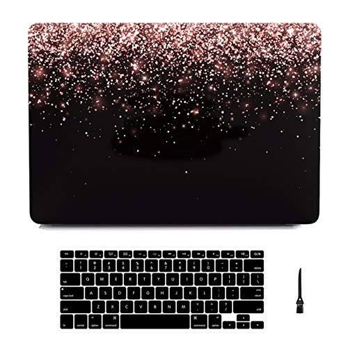 MacBook Air 13 inch Case 2019 2018 Release A1932,Arike Glitter Pattern Coated Rubber Plastic Hard Case with Keyboard Cover Compatible for MacBook Air 13 Inch with Touch ID