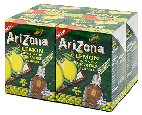 Arizona Lemon Iced Tea Stix Sugar Free, 30 Count Box (Pack of 4), Low Calorie Single Serving Drink Powder Packets, Just Add Water for a Deliciously Refreshing Iced Tea Beverage ()