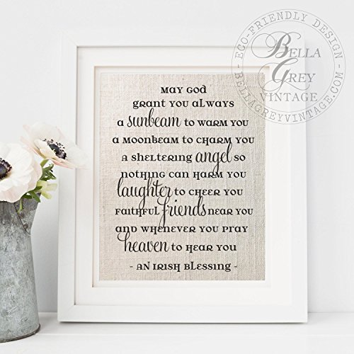 - Celtic Irish Blessing Prayer Sunbeam Christian Burlap Sign Cotton Art Print Christening Gift Baptism Nursery Decor Frame NOT included