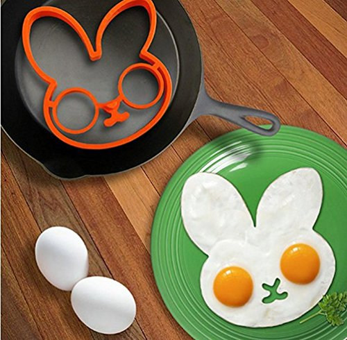 SUNONE11 Spooky Halloween Rabbit Nonstick Silicone Egg Ring Maker Mold Shaper Combo / Breakfast Sandwich Pancake Omelet Novelty (Pancake Art Halloween)