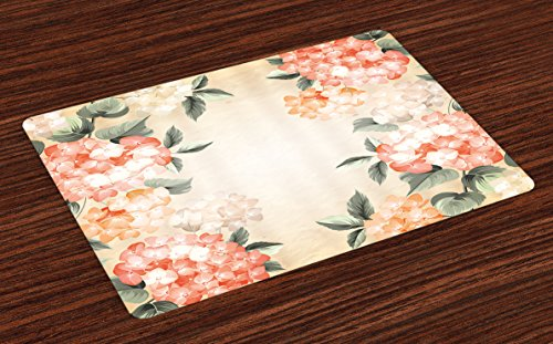 Ambesonne Floral Place Mats Set of 4, Blooming Hydrangea Flowers Leaves Bouquet Vintage Style Spring Nature Print, Washable Fabric Placemats for Dining Room Kitchen Table Decor, Salmon Reseda Green