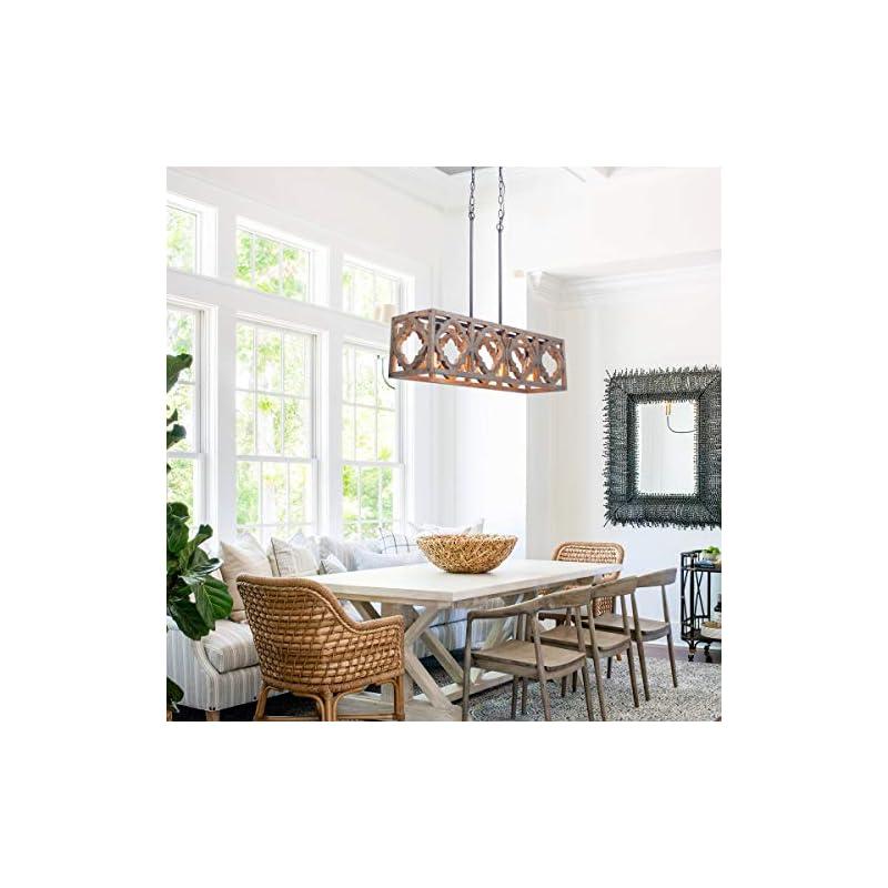 VILUXY Farmhouse Wood Kitchen Island Pendant Lighting Industrial Linear Chandelier for Indoor Kitchen Island Dining…
