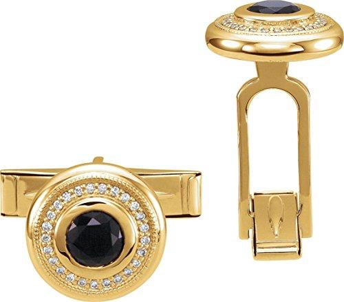 14k Yellow Gold Men's Onyx & Diamond Cuff Links - Yellow Gold Diamond Cufflinks