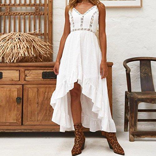 Sexy Chic Fathoit Dentelle Robes Femme Sling Bohme Blanc de Partie Ete Dcontract Femmes Empire Robe Longue Irrgulire Soire Soire rqrwYzx