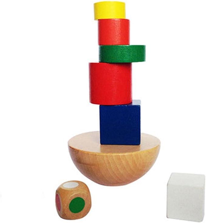 SHUYUE Wooden Stick Stacking Balance Beam Wooden Puzzle Building Blocks Board Table Balance Toys Educational Elephant Balancing Bar Game for Kids 40 pcs